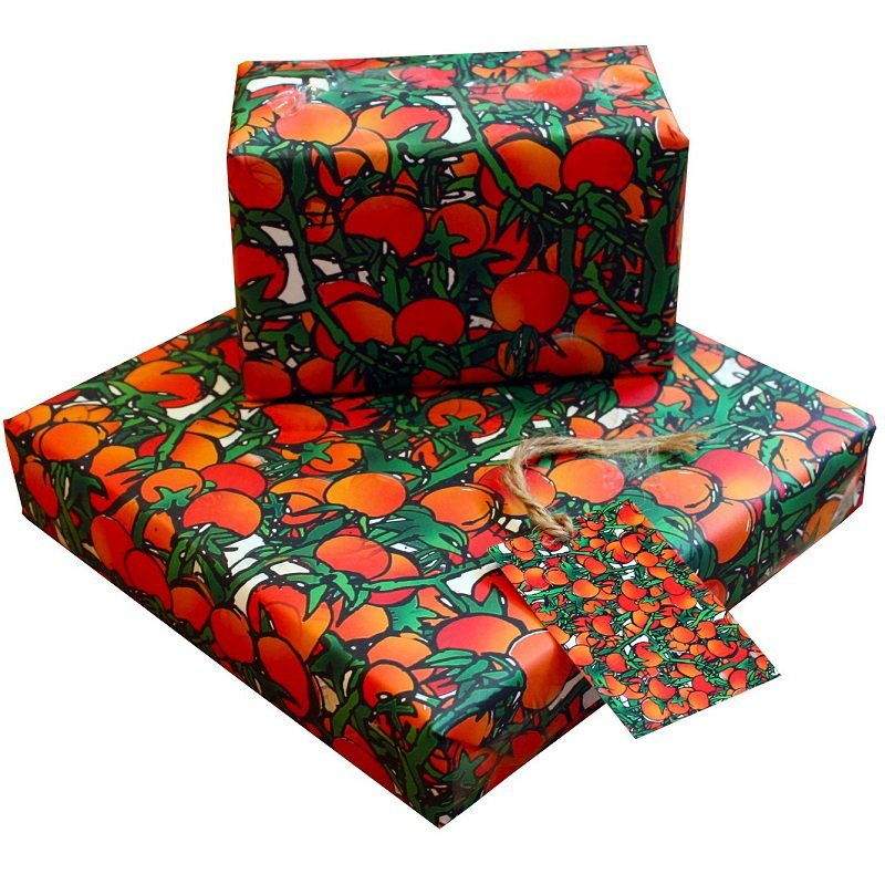 Re-wrapped: ECO Friendly Wrapping Paper Tomatoes & Vines by Emily Chapman made from 100% Unbleached Recycled Paper