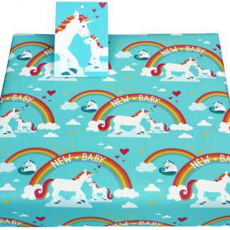 ECO Friendly Recycled Wrapping Paper Baby Unicorns by Vicky Scott