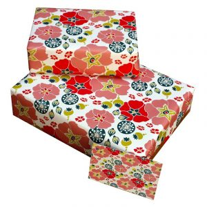 Re-wrapped: ECO Friendly Wrapping Paper Hollyhocks by Kate Heiss made from 100% Unbleached Recycled Paper