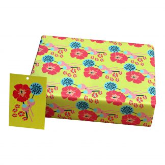 ECO Friendly Recycled Wrapping Paper Mustard Hollyhocks by Kate Heiss