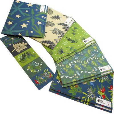 Re-wrapped: ECO Friendly Wrapping Paper Christmas Leaves and Berries Large Pack by Kate Heiss made from 100% Unbleached Recycled Paper