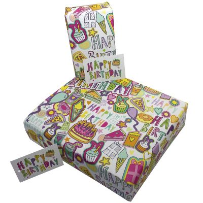 Re-wrapped: ECO Friendly Wrapping Paper Delicious Birthday for Children by Rosie Parkinson made from 100% Unbleached Recycled Paper