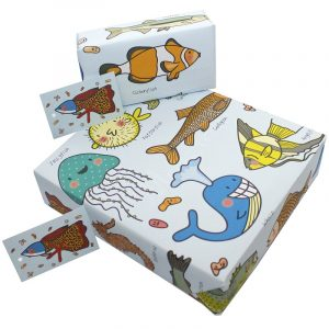 Re-wrapped: ECO Friendly Wrapping Paper Cavallini Fish for Children by Rosie Parkinson made from 100% Unbleached Recycled Paper