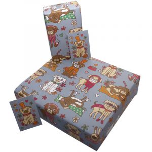 Re-wrapped: ECO Friendly Birthday Wrapping Paper Pugs for Children by Rosie Parkinson made from 100% Unbleached Recycled Paper