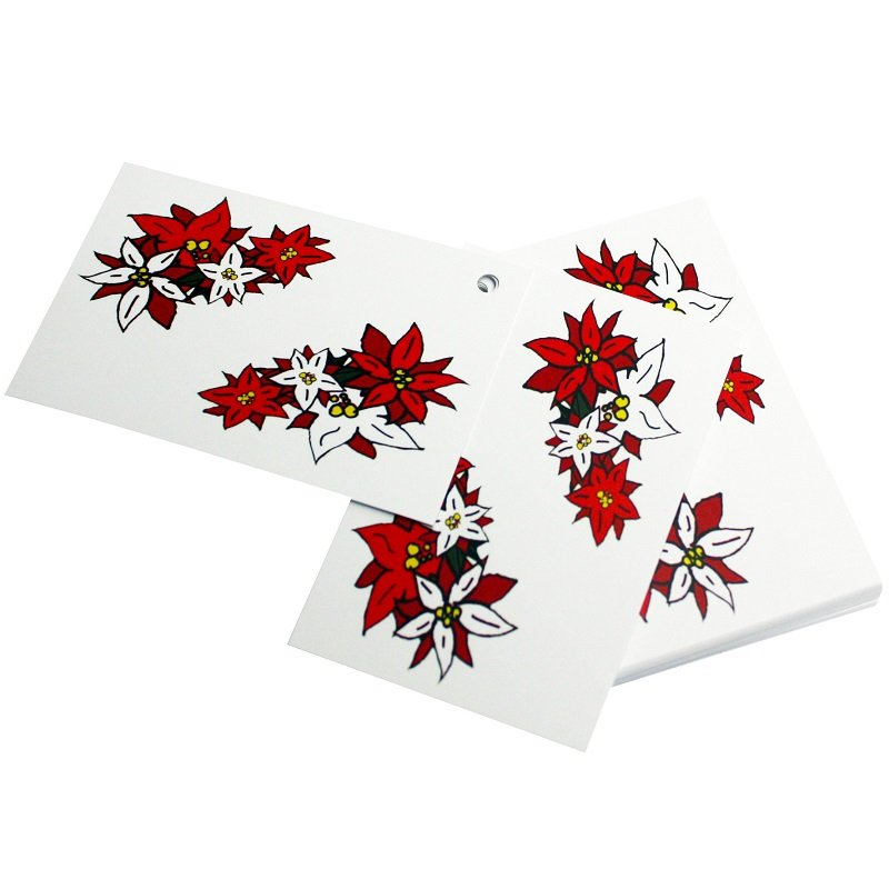 Re-wrapped: ECO Friendly Xmas Wrapping Paper Tags Christmas Poinsettia by Emily Chapman made from 100% Unbleached Recycled Paper