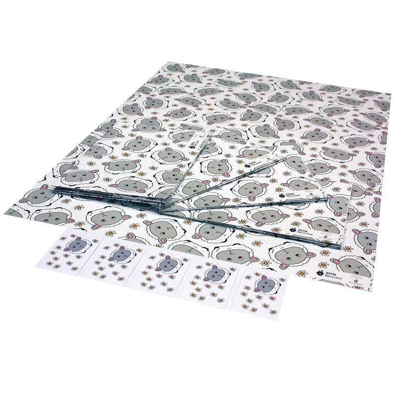 Sheep and Daisies 1 sheet 1 tag of eco friendly recycled wrapping paper
