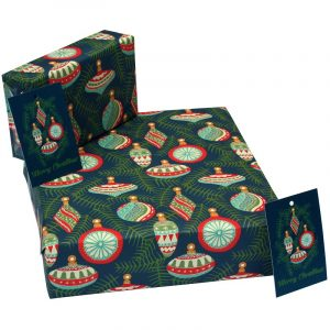 Re-wrapped: ECO Friendly Xmas Wrapping Paper Christmas Baubles Teal by Kate Heiss made from 100% Unbleached Recycled Paper