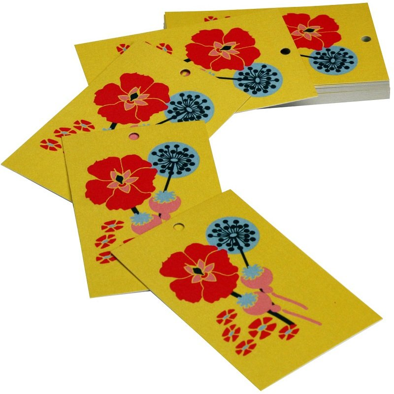 Re-wrapped: ECO Friendly Wrapping Paper Tags Mustard Hollyhocks by Kate Heiss made from 100% Unbleached Recycled Paper