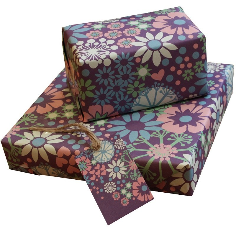 Re-wrapped: ECO Friendly Wrapping Paper Purple Ditsy by Kate Heiss made from 100% Unbleached Recycled Paper