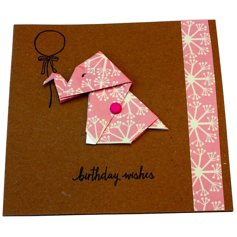 Re-wrapped: ECO Friendly Wrapping Paper Ditsy Ditsy Birthday Wishes Card made from 100% Unbleached Recycled Paper