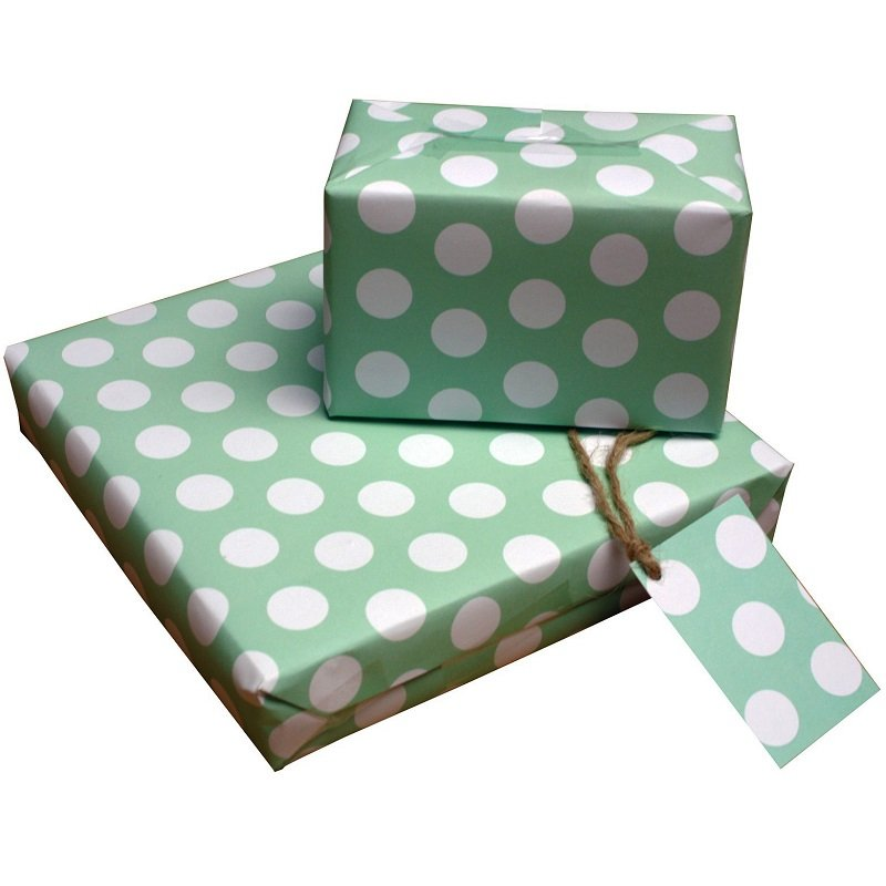 Re-wrapped: ECO Friendly Wrapping Paper Polka Dot Green by Tracy Umney made from 100% Unbleached Recycled Paper