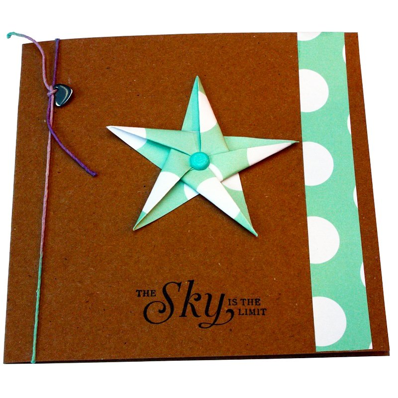 Re-wrapped: ECO Friendly Wrapping Paper Polka Dot Green The Sky is the Limit Card made from 100% Unbleached Recycled Paper