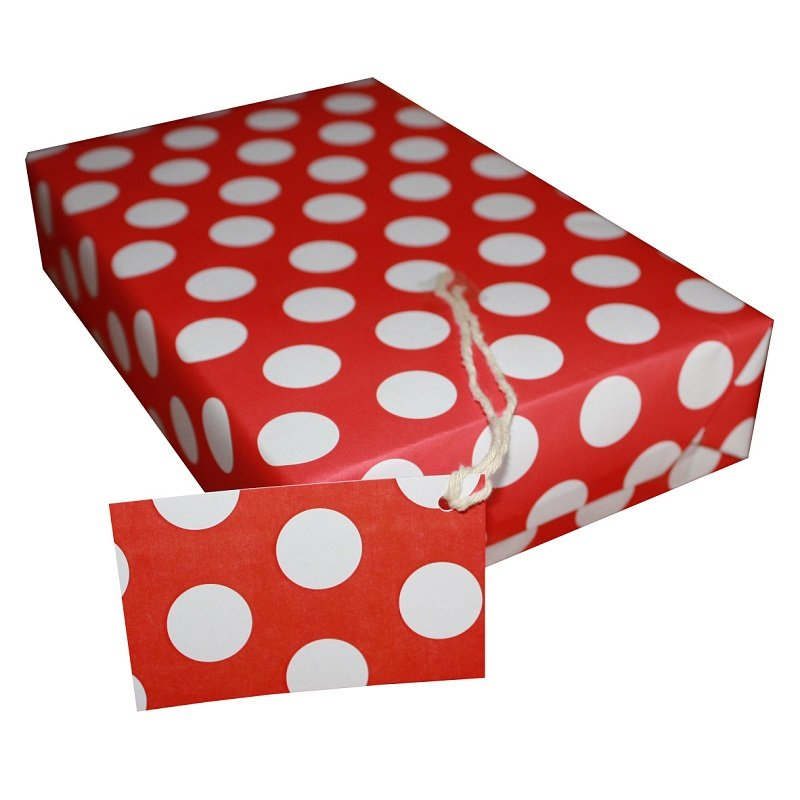 Re-wrapped: ECO Friendly Wrapping Paper Polka Dot Red by Tracy Umney made from 100% Unbleached Recycled Paper