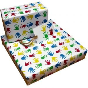 Re-wrapped: ECO Friendly Wrapping Paper Childrens Handprints by Tracy Umney made from 100% Unbleached Recycled Paper