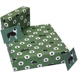 Re-wrapped: ECO Friendly Wrapping Paper Green Sheepdog by New Ewe made from 100% Unbleached Recycled Paper