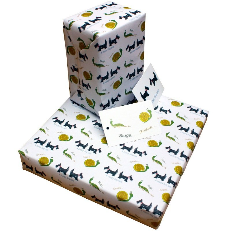 Re-wrapped: ECO Friendly Wrapping Paper Childrens Slugs & Snails by Tracy Umney made from 100% Unbleached Recycled Paper