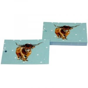 Re-wrapped: ECO Friendly Xmas Wrapping Paper Tags Christmas Highland Cows by Sophie Botsford made from 100% Unbleached Recycled Paper
