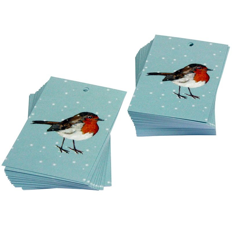 Re-wrapped: ECO Friendly Xmas Wrapping Paper Tags Christmas Robins by Sophie Botsford made from 100% Unbleached Recycled Paper