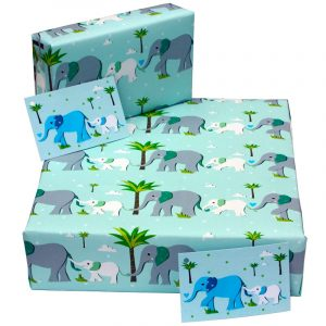 Re-wrapped: ECO Friendly Wrapping Paper Blue Baby Elephant by Vicky Scott made from 100% Unbleached Recycled Paper