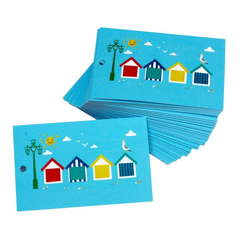 Re-wrapped: ECO Friendly Wrapping Paper Tags Beach Huts by Vicky Scott made from 100% Unbleached Recycled Paper