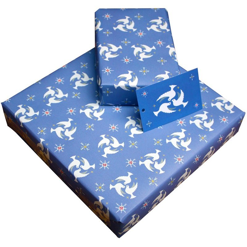 Re-wrapped: ECO Friendly Xmas Wrapping Paper Christmas Doves by Vicky Scott made from 100% Unbleached Recycled Paper