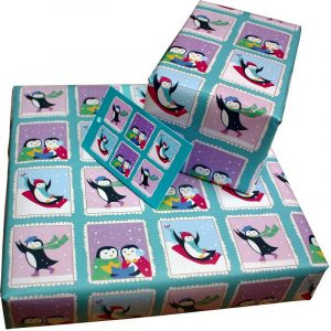 Re-wrapped: ECO Friendly Xmas Wrapping Paper Christmas Penguins by Vicky Scott made from 100% Unbleached Recycled Paper