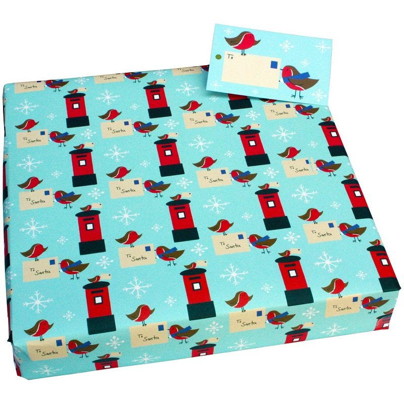 Re-wrapped: ECO Friendly Xmas Wrapping Paper Christmas Postbox Robins by Vicky Scott made from 100% Unbleached Recycled Paper