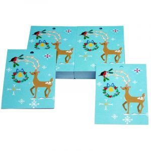 Re-wrapped: ECO Friendly Xmas Wrapping Paper Tags Christmas Reindeer by Vicky Scott made from 100% Unbleached Recycled Paper