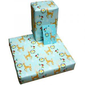 Re-wrapped: ECO Friendly Xmas Wrapping Paper Christmas Reindeer by Vicky Scott made from 100% Unbleached Recycled Paper