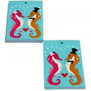 Re-wrapped: ECO Friendly Wrapping Paper Tags Wedding Seahorses by Vicky Scott made from 100% Unbleached Recycled Paper