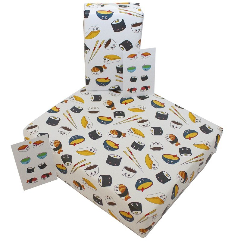 Re-wrapped: ECO Friendly Wrapping Paper Sushi and Bowls by Emily Chapman made from 100% Unbleached Recycled Paper