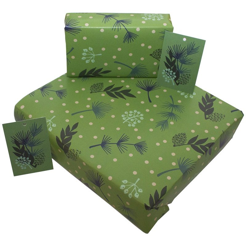 Re-wrapped: ECO Friendly Wrapping Paper Christmas Green Leaves by Kate Heiss made from 100% Unbleached Recycled Paper