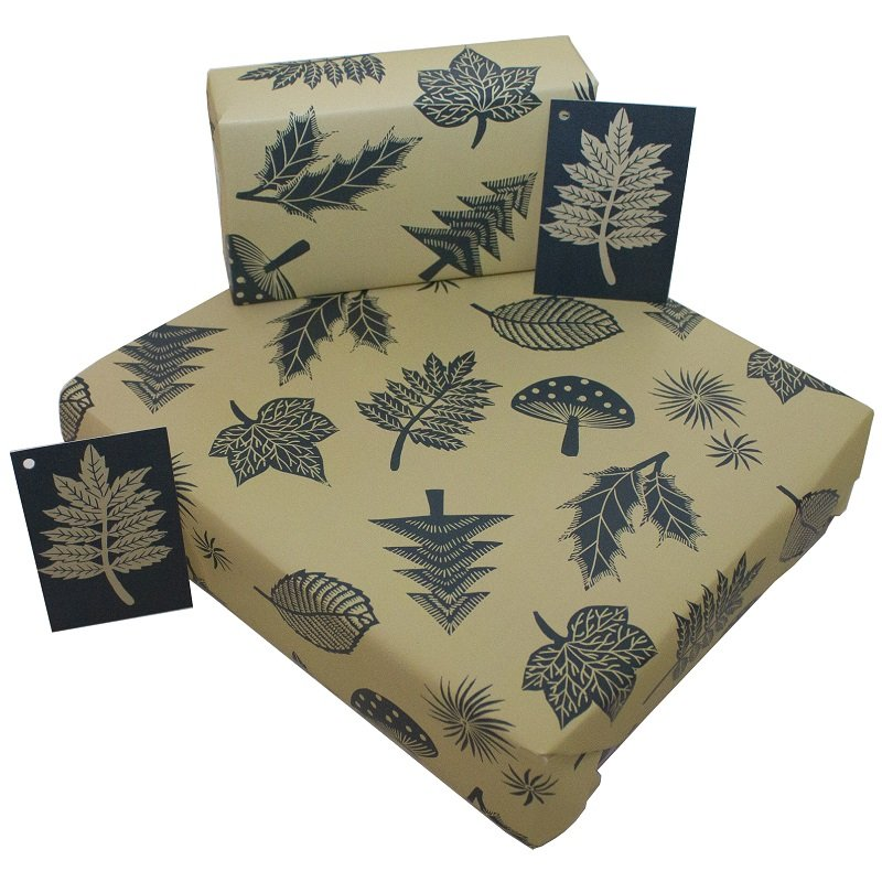 Re-wrapped: ECO Friendly Wrapping Paper Christmas Linocut Leaves by Kate Heiss made from 100% Unbleached Recycled Paper