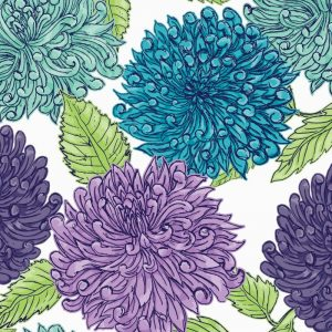 Re-wrapped: ECO Friendly Wrapping Paper Blue Dahlias by Rosie Parkinson made from 100% Unbleached Recycled Paper