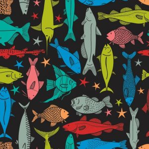 Re-wrapped: ECO Friendly Birthday Wrapping Paper Fancy Fish by Rosie Parkinson made from 100% Unbleached Recycled Paper