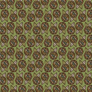 Re-wrapped: ECO Friendly Birthday Wrapping Paper Vintage Retro Green Flowers by Rosie Parkinson made from 100% Unbleached Recycled Paper