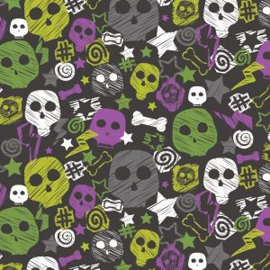 Re-wrapped: ECO Friendly Birthday Wrapping Paper Skulls and Bones by Rosie Parkinson made from 100% Unbleached Recycled Paper