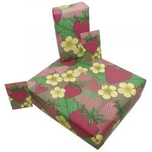 Re-wrapped: ECO Friendly Wrapping Paper Summer Strawberries by Rosie Parkinson made from 100% Unbleached Recycled Paper