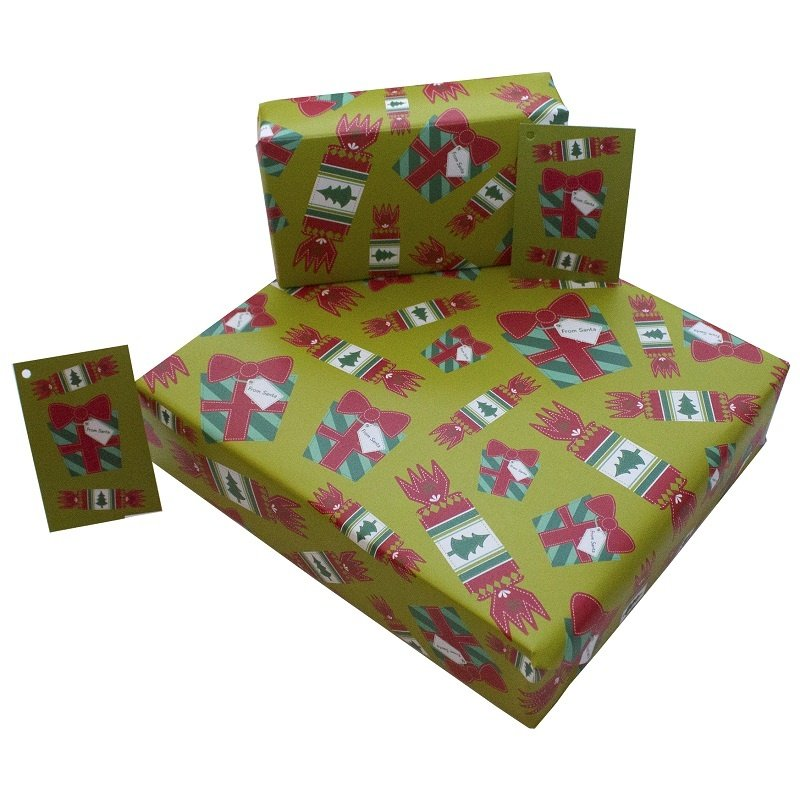 Re-wrapped: ECO Friendly Wrapping Paper Christmas Crackers by Rosie Parkinson made from 100% Unbleached Recycled Paper