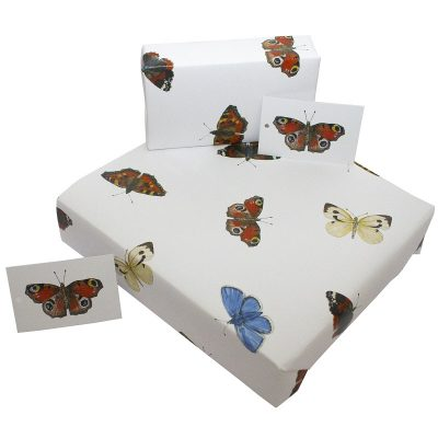 Re-wrapped: ECO Friendly Birthday Wrapping Paper English Butterflies by Sophie Botsford made from 100% Unbleached Recycled Paper
