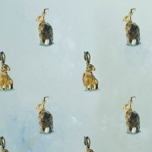 Re-wrapped: ECO Friendly Birthday Wrapping Paper Oil Hares by Sophie Botsford made from 100% Unbleached Recycled Paper