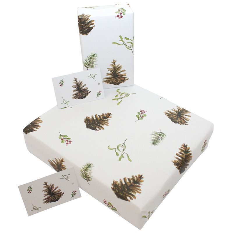 Re-wrapped: ECO Friendly Wrapping Paper Christmas Fir Cones and Mistletoe by Sophie Botsford made from 100% Unbleached Recycled Paper