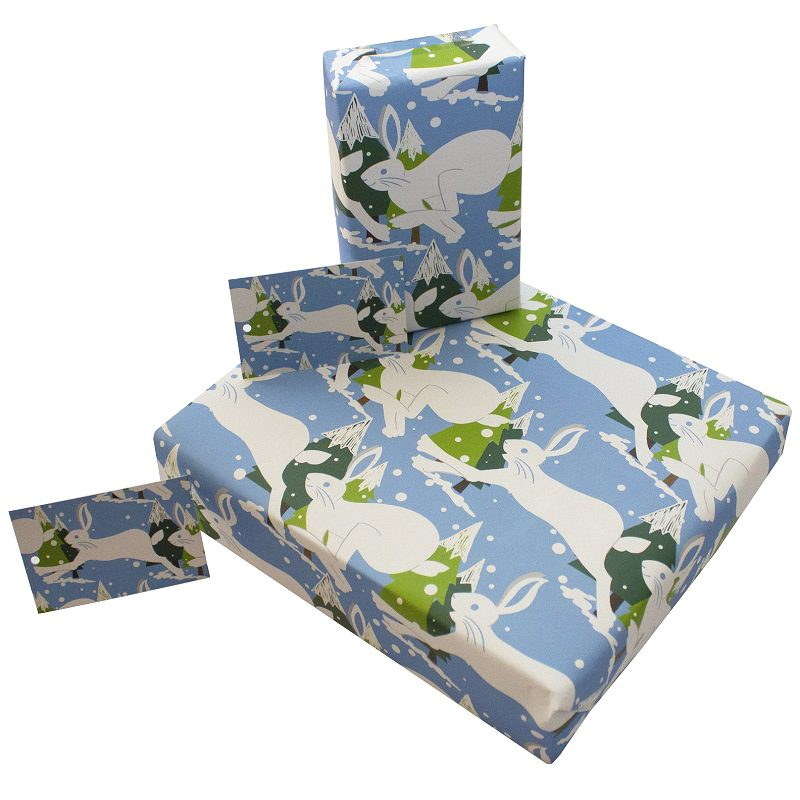 Re-wrapped: ECO Friendly Wrapping Paper Christmas Mountain Hares by Vicky Scott made from 100% Unbleached Recycled Paper