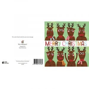 Re-wrapped: ECO Friendly Birthday Wrapping Paper Merry Christmas Greetings Card by Rosie Parkinson made from 100% Unbleached Recycled Paper