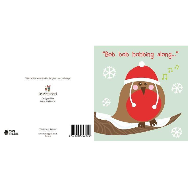 Re-wrapped: ECO Friendly Birthday Wrapping Paper Christmas Robin Greetings Card by Rosie Parkinson made from 100% Unbleached Recycled Paper