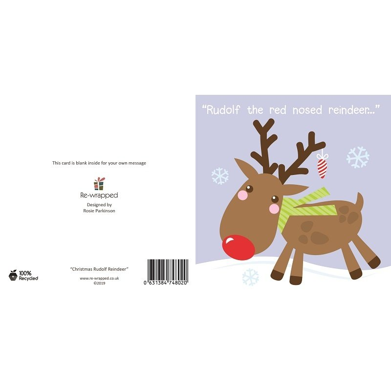 Re-wrapped: ECO Friendly Birthday Wrapping Paper Christmas Rudolf Reindeer Greetings Card by Rosie Parkinson made from 100% Unbleached Recycled Paper