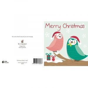 Re-wrapped: ECO Friendly Birthday Wrapping Paper Christmas Owls in Tree Greetings Card by Rosie Parkinson made from 100% Unbleached Recycled Paper
