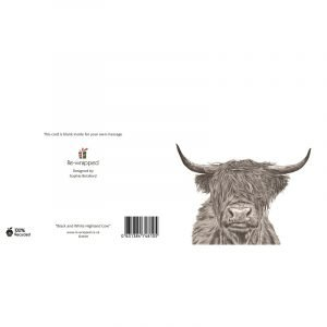 Re-wrapped: ECO Friendly Birthday Wrapping Paper Black and White Highland Cow Greetings Card by Sophie Botsford made from 100% Unbleached Recycled Paper
