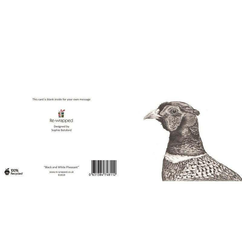 Re-wrapped: ECO Friendly Birthday Wrapping Paper Black and White Pheasant Greetings Card by Sophie Botsford made from 100% Unbleached Recycled Paper
