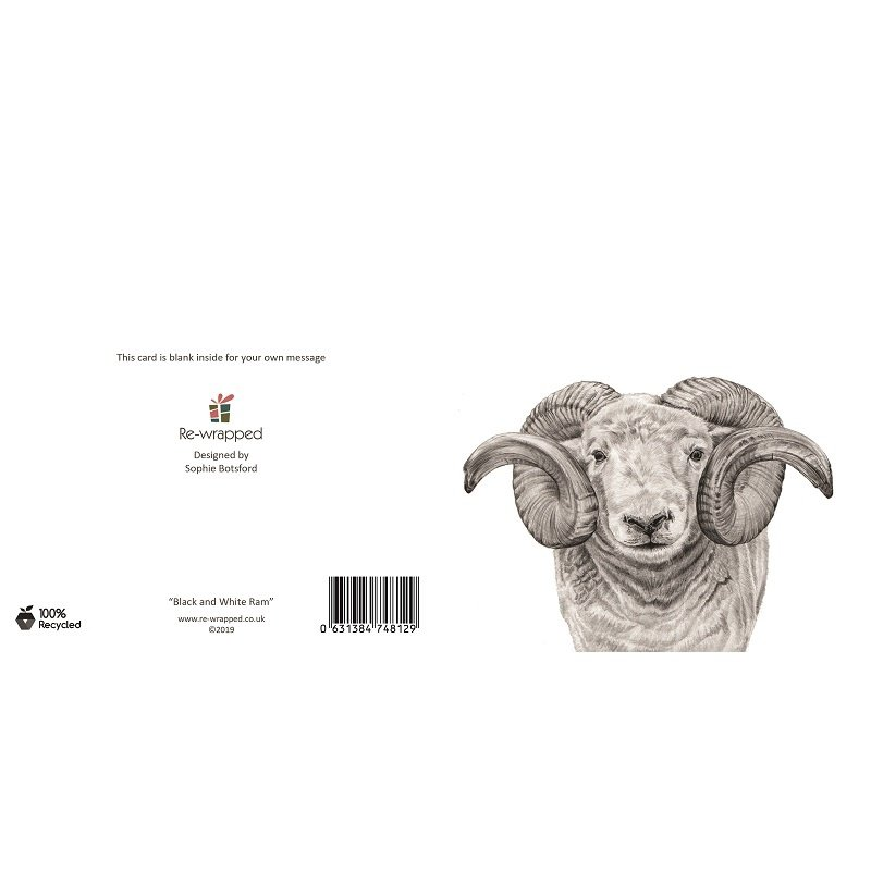 Re-wrapped: ECO Friendly Birthday Wrapping Paper Black and White Ram Greetings Card by Sophie Botsford made from 100% Unbleached Recycled Paper